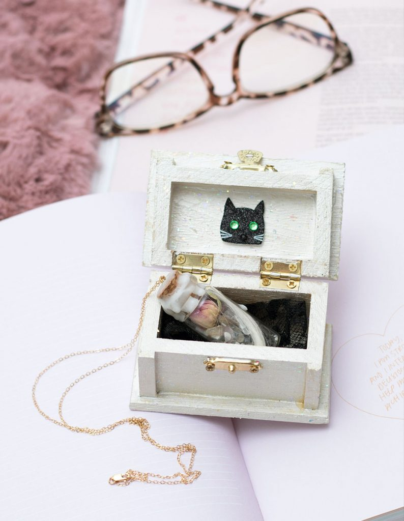 Black Cat Cottage Grief Amulet 14K Gold Chain