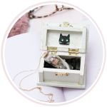 Black Cat Cottage Grief Amulet 14K Gold Chain Preview